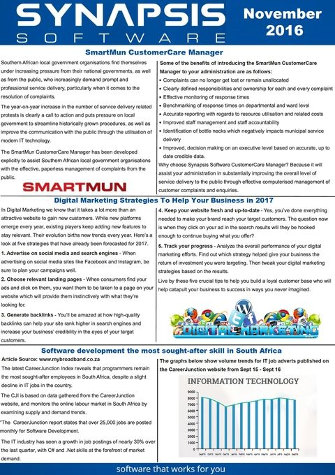 Monthly Newsletter | Synapsis Software Monthly Newsletter November 2016 Newsletters